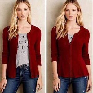 ANGEL OF THE NORTH | Pointelle Peplum Zip Cardigan